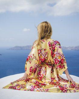 Productafbeelding kimono satijn Gold & Flowers