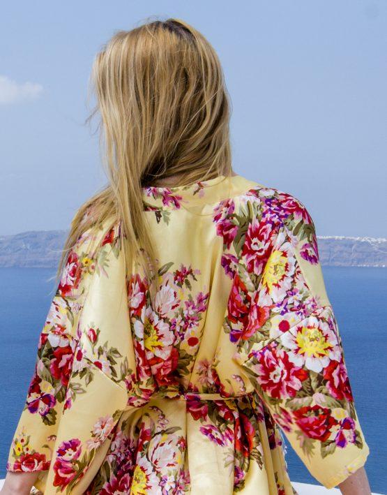 Productafbeelding Kimono satijn Gold & Flowers close up