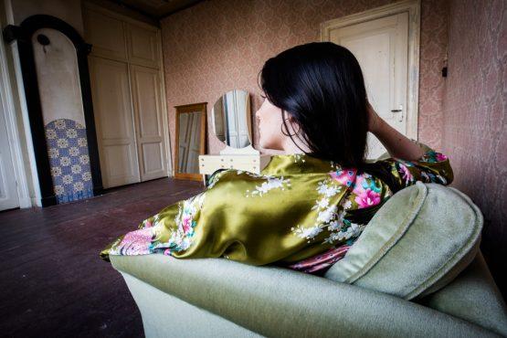Kimono satijn Golden green blossom
