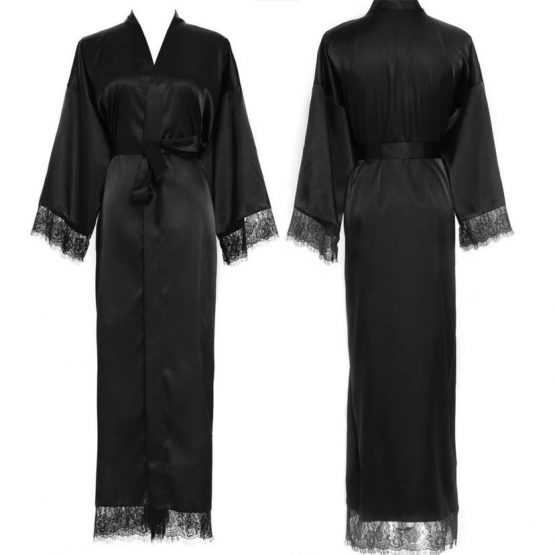 Kimono long lace black