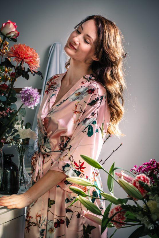 Kimono satijn Delphini