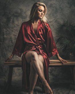 Kimono satijn Long Lace Burgundy