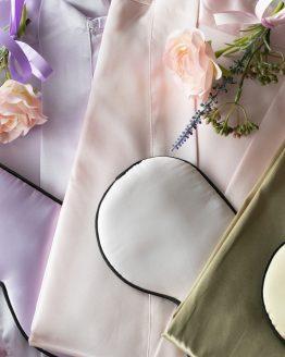 Satijnen Kimono + slaapmasker set lavendel goud en roze