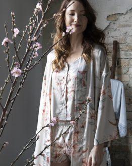 Moederdag set luxury flower kimono en pyjama set